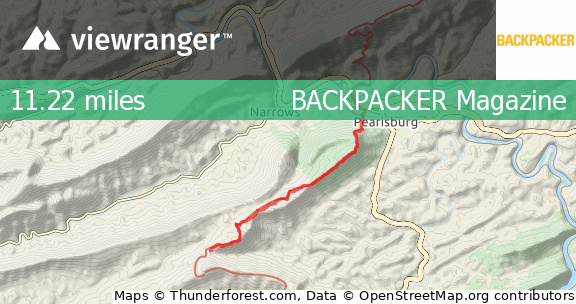 ViewRanger - Appalachian Trail: VA 663 to US 460 - Hiking route in ...