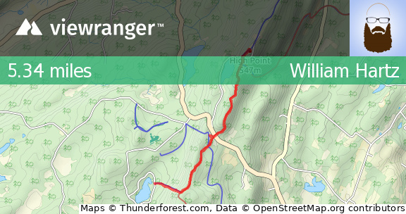 ViewRanger - Sawmill Pond to High Point - Hiking route in Colesville