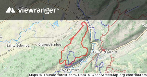 ViewRanger - 15 km les granges - VTT route in Pontarlier